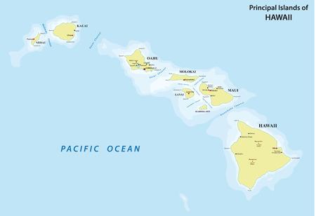 ハワイ地図  イラスト・ベクター素材