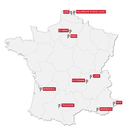 toulouse: France 2016 soccer stadium map Illustration