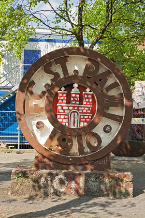 st pauli: Monument in front of the Millerntor stadium of football club FC St. Pauli on the Holy Spirit Field Editorial