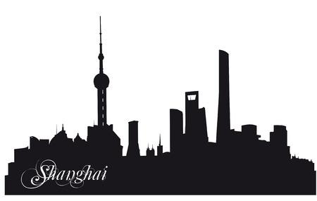 shanghai skyline: black silhouette of the skyline of Shanghai