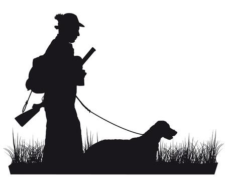 zwart en wit silhouet Jager met hond Stock Illustratie