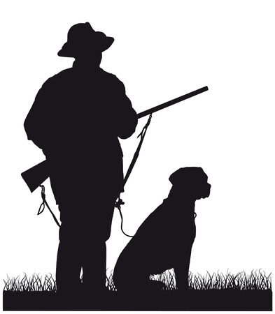 back of leg: black and white silhouette Hunter with dog