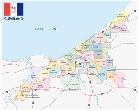 Cleveland administratieve kaart met vlag