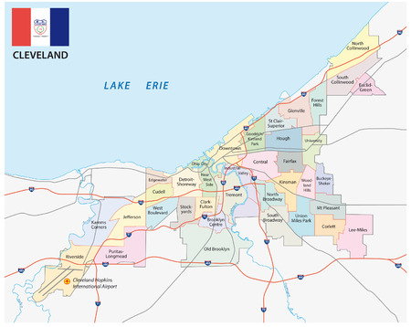 Cleveland administrative map with flag Иллюстрация
