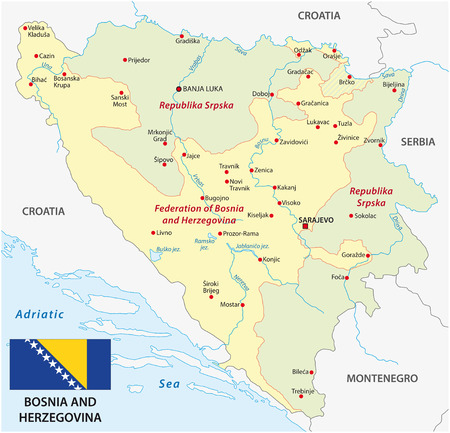 bosnia and  herzegovina: Bosnia and Herzegovina map with flag Illustration
