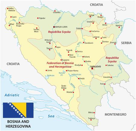 herzegovina: Bosnia and Herzegovina map with flag Illustration