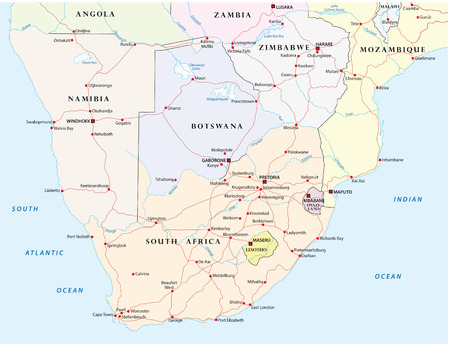 Road map of Southern Africa Vettoriali