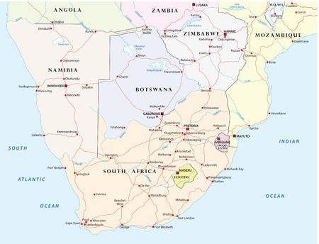 kaart van Zuidelijk Afrika Road