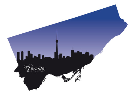 toronto: Toronto map with silhouette
