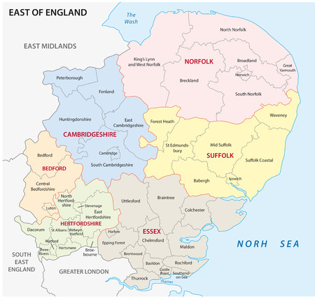 england map: East of England administrative map