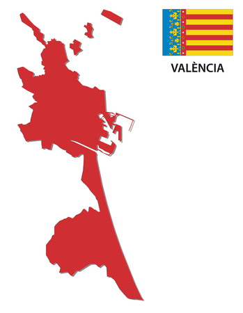 valencia: Valencia red map with flag map