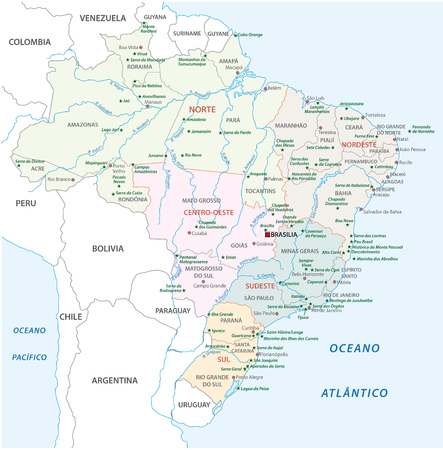 continente americano: Brasil Mapa de parques nacionales