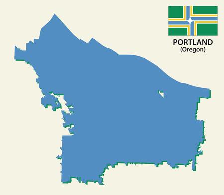 rural area: Portland map with flag Illustration
