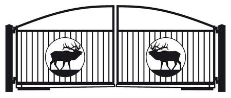 Irongate met herten ornament Stock Illustratie