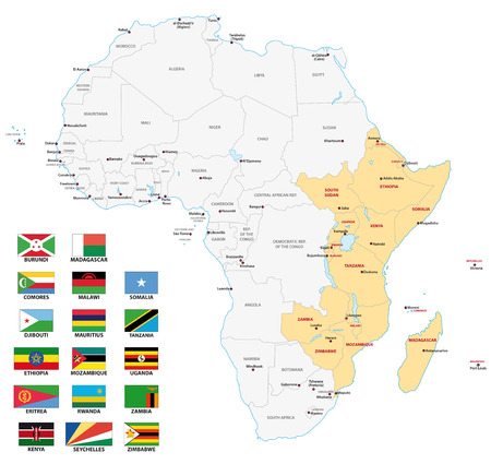 East Africa map with flags