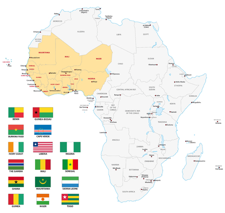 mapa politico: África Occidental mapa con banderas