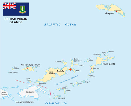 oversea: British Virgin Islands map with flag