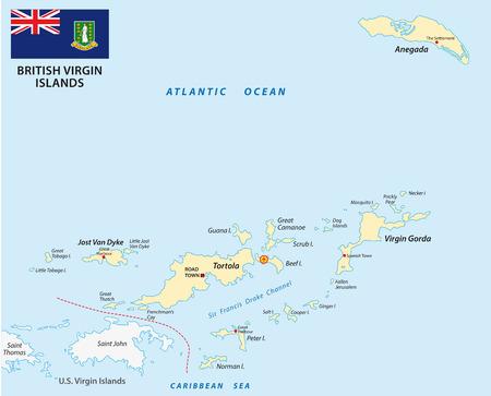 Britse Maagdeneilanden kaart met vlag Vector Illustratie