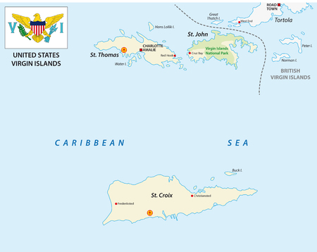 United States Virgin Islands map with flag Illustration