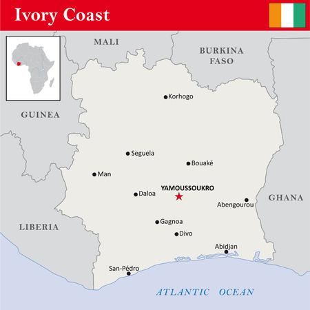 coast: simple outline map of Ivory Coast