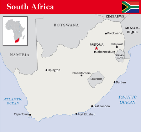 cape town: simple outline map of South Africa Illustration