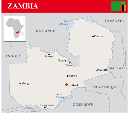 zambia: simple outline map of Zambia