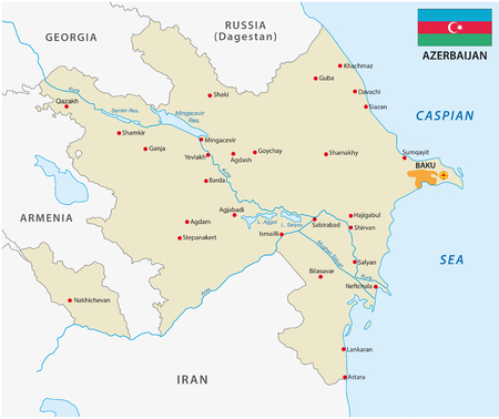 azerbaijan: Azerbaijan map with flag Illustration