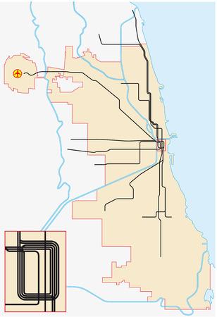 the subway: chicago subway map Illustration