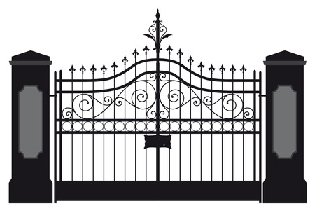 iron fence: Iron gate