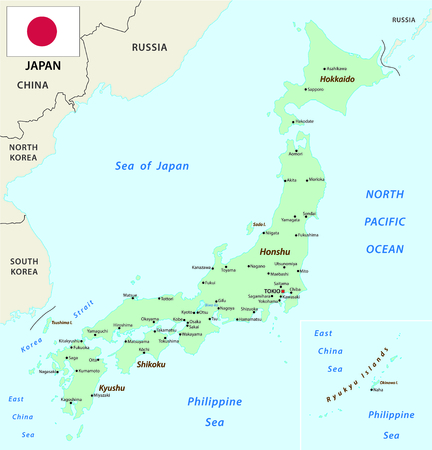 east: Japan map with flag