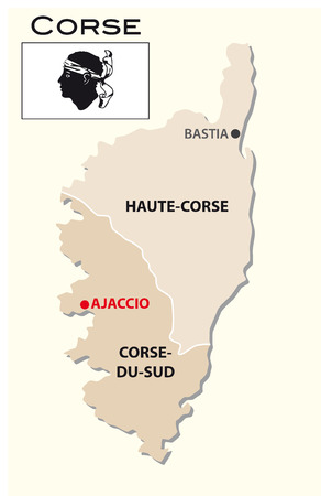 corsica: Simple administrative map of Corsica with flag Illustration