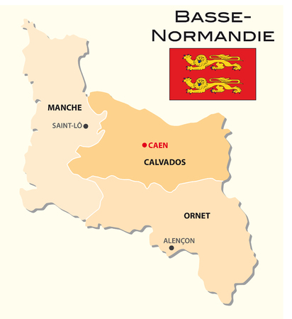 normandy: Simple administrative map of Lower Normandy with flag
