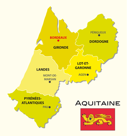 aquitaine: Simple administrative map of Aquitaine with flag