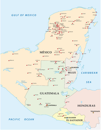 central america: Map of the Maya in Central America Areas