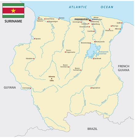 suriname: Suriname map with flag