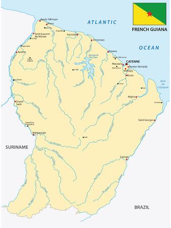 frances: Mapa de la Guayana francés con la bandera