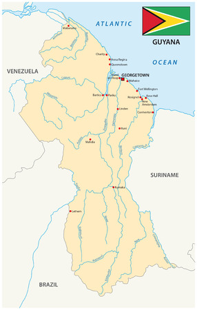 georgetown: Guyana map with flag Illustration