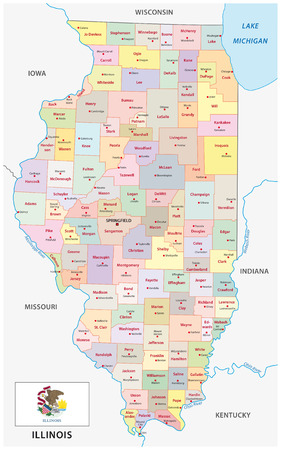 illinois administrative map with flag