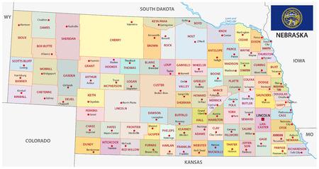 nebraska: nebraska administrative map with flag