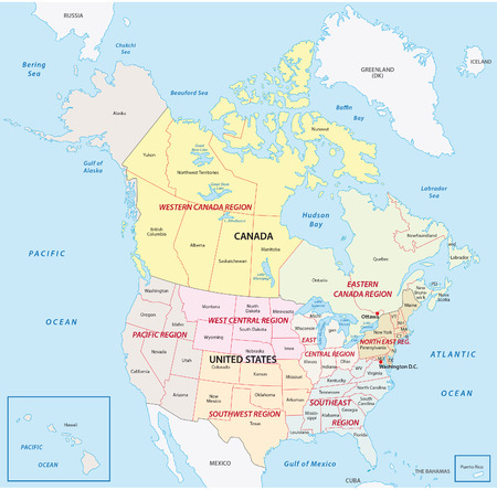 United States and Canada Regional map Stock fotó - 46598101
