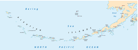 Aleutian Islands map Ilustrace