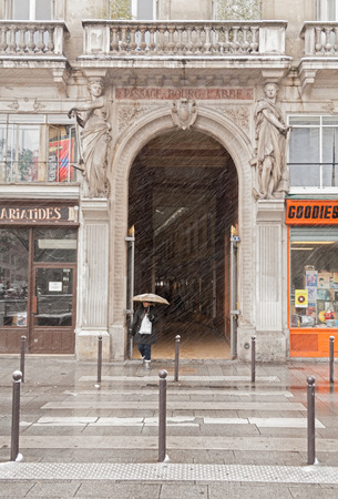 passage: Snowfall at the entrance of the Passage Bourg-l Abbe, Paris