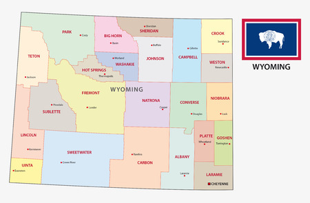 wyoming administrative map with flag