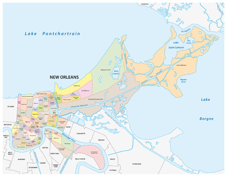 orleans: New Orleans administrative map Illustration