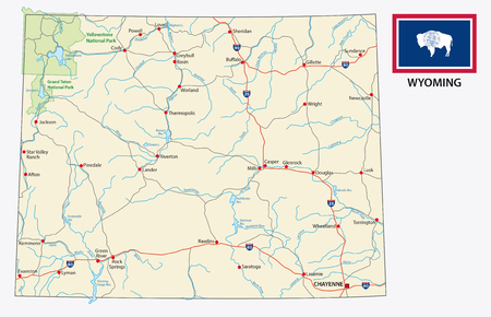 wyoming road map with flag  イラスト・ベクター素材