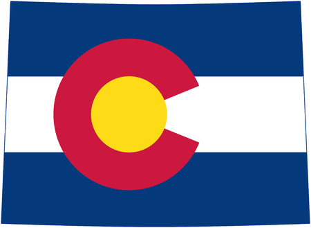 state of colorado: flag of the US State Colorado in the form of state borders