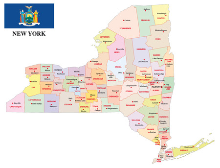 New York administrative map with flag