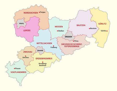 administrativo: Mapa administrativo Sajonia
