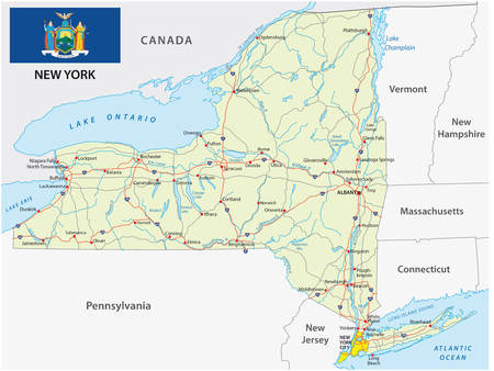 New York State road map with flag Illustration