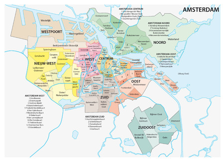 Amsterdam administrative map Illustration